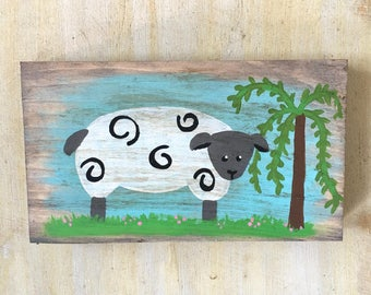 Spring Wood Sign, Hand Painted Sign, Sheep, Lamb, Easter Decor, Vintage Decor