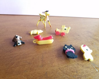 Vintage Miniatures for the Dollhouse or Fairy Garden--Bambi, Weiner Dog in Bun, Basset Hound and more