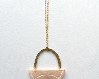 LINNEA - Cotton, Thread, Gold and Brass Necklace - Blush