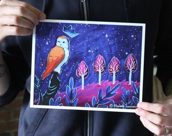 Barn Owl King; Fine Art Print