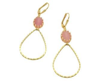 Pink stone gold teardrop long earrings, Teardrop pendant gold dangle earrings, Bridal jewelry party gifts, Pink gems wedding earrings,