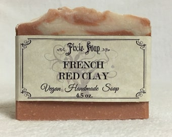 French Red Clay Handmade Vegan Soap