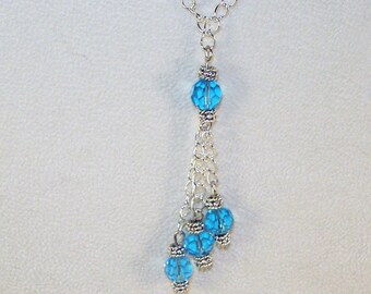 Birthstone Lariat Necklace - March / Aquamarine