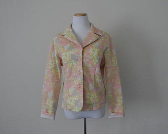 FREE usa SHIPPING Vintage 1990s women's floral denim jacket, spring jacket, hipster, retro, size M