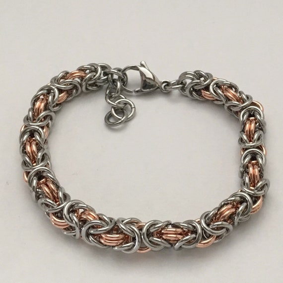 Stainless steel / Copper byzantine bracelet unisex everyday jewelry