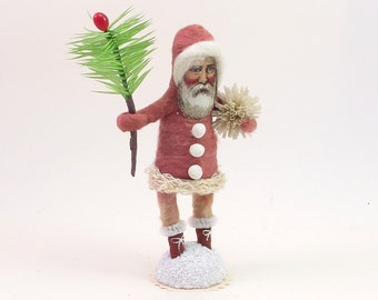 Vintage Inspired Spun Cotton Classic Santa Figure (MADE TO ORDER)