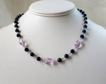 Black Spinel and  Rose de France Orchid Pink Amethyst 3 Stone Necklace Gemstone Choker Statement Chain Necklace Elegant Fine Jewelry