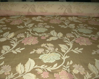 Vintage drapery upholstery fabric beige sateen with seafoam & rose floral design new old stock