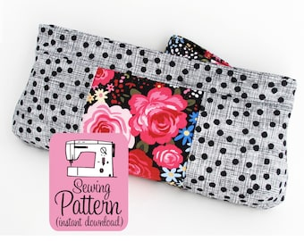Violet Clutch PDF Sewing Pattern | Intermediate sewing project tutorial to make a medium clutch purse handbag with a zip pull.