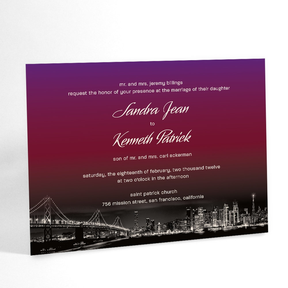 Ombre Wedding Invitations City Wedding Sunset Over City