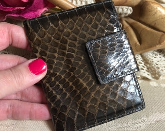 Vintage whipsnake leather small ID wallet, Bosca dark taupe brown small folding wallet, picture wallet, snake skin small ID card wallet