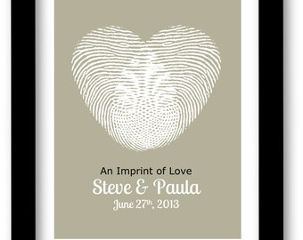 Personalized Couples Gift, Wedding, Thumb Print, Heart, Custom Wedding Shower Gift, Wedding Table, Guest Book