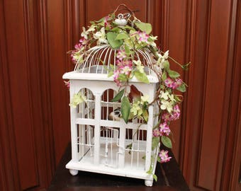 White Bird Cage with Violet and Lime Green Flowers (S18-50)