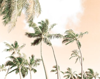 Tropical Wall Art, Hawaiian Print, Peach Wall Decor, Large Beach Wall Art, Palm Trees, Island Photography, Beach House, Beach Cottage Decor