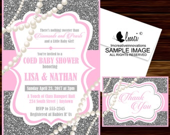 Diamonds and Pearls Baby Shower Invitation - Digital File or Printed