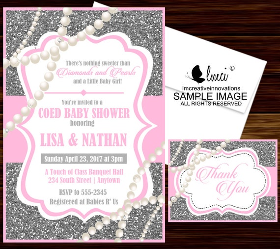 Diamonds And Pearls Baby Shower Invitation Digital File Or