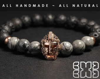 Natural Scenery Jasper & Lava Stone Beads Rose Gold Plated Micro Pave Spartan Gladiator Helmet, Ancient Warrior Men's Mala Beaded Bracelet