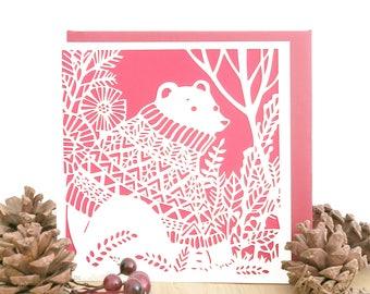 Christmas bear card, Bear card, Bear hug card, Unique Christmas card, Christmas card, Holiday card, Season's Greetings card, Noel card