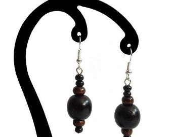 Black and dark brown wood earrings