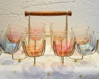 Mid century glass carrier with 8 colored glasses holder