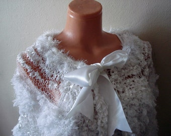White Bridal Wrap Shrug Shawl Fluffy Romantic Capelet  Fur Shawl Wedding Accessories