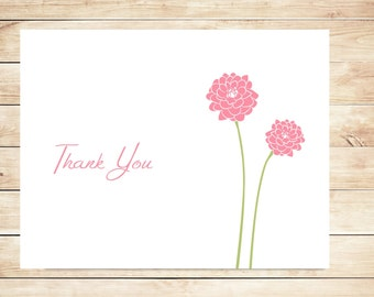 Dahlia Thank You Cards - Dahlia Stationery - Dahlia Stationary