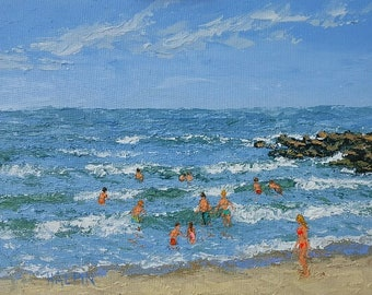 "Fun In The Waves, acrylics on canvas panel, 12""x16"", plein air, original, signed"