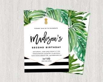 Tropical Birthday Invitation, Banana Leaf Invitation, Palm Invitation, Black, White and Gold | DIY | Customized Printable (5x7)