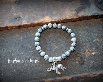 Grey Beaded Elephant Charm Bracelet