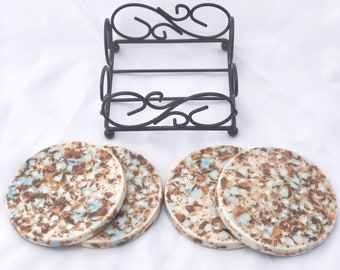 Ceramic Coasters -  Round Set of 4 with Black Stand - Beige, Blue, Brown