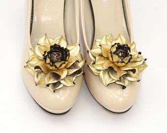 Genuine LEATHER flower SHOE CLIPS|Metallic leather gold flower shoe decoration|Gold shoe jewelry|Gold shoe clips|Metallic gold shoe clip ons