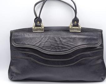 Vintage Black Leather Handbag, Top Handle Handbag