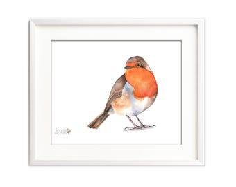 Robin digital print of watercolor painting. 14 by 11. Robin print digital. robin watercolor painting digital print, printable robin