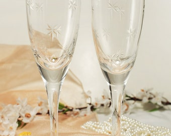 Personalized Crystal Wedding Toasting Flutes Champagne Sets Anniversary