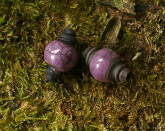 raku ceramic beads by Lot of 2 violet-purple glazed terracotta beads on black clay and mate