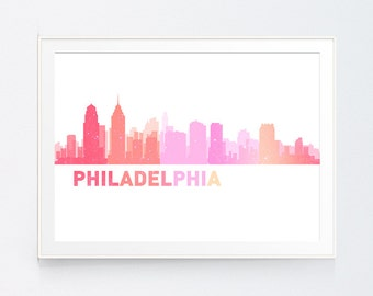 Philadelphia Skyline, Philadelphia Pennsylvania, Cityscape Art Print, Map Art, Philadelphia Poster, Philadelphia Art, INSTANT DOWNLOAD