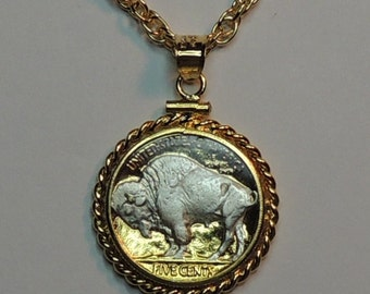 U.S. Sacred White buffalo(Silver on Gold) nickelcoin Necklace