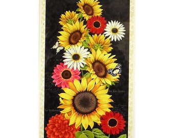 Sunset Blooms~Sunflower Panel 23in x 44in Cotton Fabric By Wilmington Prints