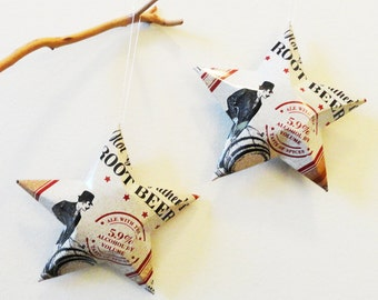 Not Your Father's Root Beer aluminum can stars, Christmas Ornaments, Vintage look,  Small Town Brewery spiced beer