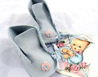 """1950s """"Baby Gay"""" wool felt baby shoes and gift card in original bag - NOS"""