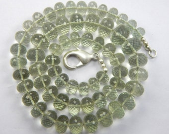 25% Off416.55 size 9-14 mm 21.5'' beautifull super fine quality green Amethyst faceted Rondelles Beads Necklace