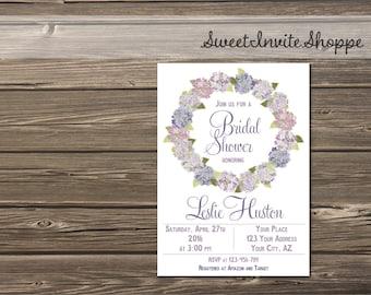 Hydrangea Bridal Shower Invitation, Floral Wedding Shower Invitation, Purple Wreath Bridal Shower Invite, Baby Shower, Wedding Invite