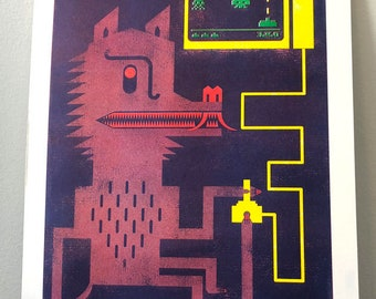 "Werewolf Versus Space Invaders 4 Color 9x12"" Risograph Print"