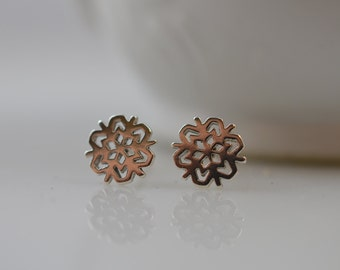 Small Sterling Silver Snowflake Earrings