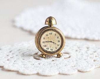 Clock_brass miniature_Holland collectible_golden clock_alarm métal clock_toy maison roombox_brass jouet clock_vintage rétro jouet miniature