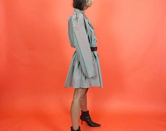 Irridescent green & blush trench coat O/S