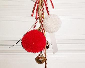 Red And White Pom Pom Door Knob Hanger, 15 Inches Jingle Bell Door Decoration, Gift Idea , Housewarming Gift, Handmade Door Bell