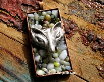 Woodland Fox pendant ready to ship colorful beach glass stones Valentine's Day gifts custom pendant jewelry copper pewter glass