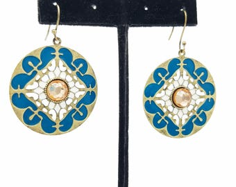 1970's Brass, Enamel & Rhinestone Boho Dangle Earrings