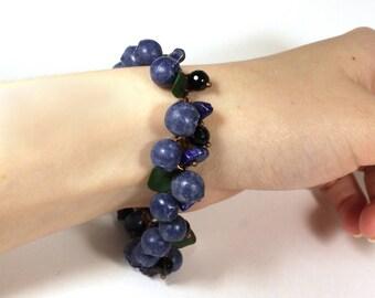 Blueberry Bracelet, Valentine's Day, Berry Bracelet, Charm bracelet, Blue Bracelet, Berry Jewelry, Woman gift, Handmade jewelry